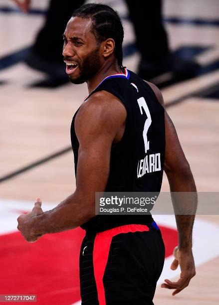 Kawhi Leonard of the LA Clippers reacts during the fourth quarter against the Denver Nuggets in Game Seven of the Western Conference Second Round...