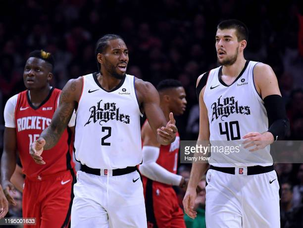 Kawhi Leonard of the LA Clippers reacts to his offensive foul with Ivica Zubac during a 122-117 Houston Rockets win at Staples Center on December 19,...