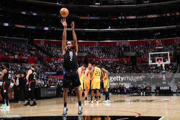 Kawhi Leonard of the LA Clippers shoots a free throw during Round 2, Game 4 of 2021 NBA Playoffs on June 14, 2021 at STAPLES Center in Los Angeles,...