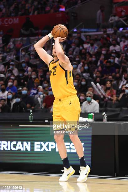 Kawhi Leonard of the LA Clippers shoots a three point basket against the Utah Jazz during Round 2, Game 4 of the 2021 NBA Playoffs on June 14, 2021...