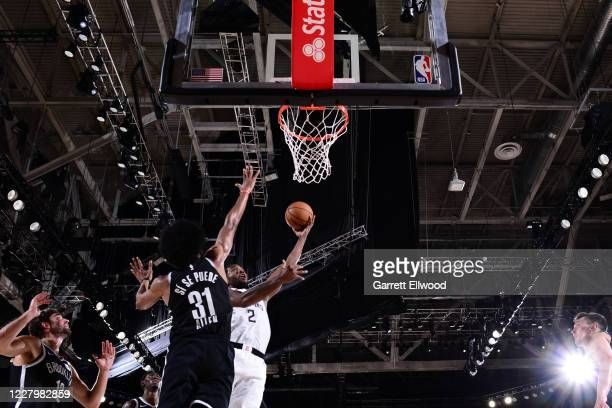Kawhi Leonard of the LA Clippers shoots the ball against the Brooklyn Nets on August 9 2020 at AdventHealth Arena in Orlando Florida NOTE TO USER...