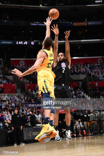 Kawhi Leonard of the LA Clippers shoots the ball against the Utah Jazz during Round 2, Game 4 of 2021 NBA Playoffs on June 14, 2021 at STAPLES Center...