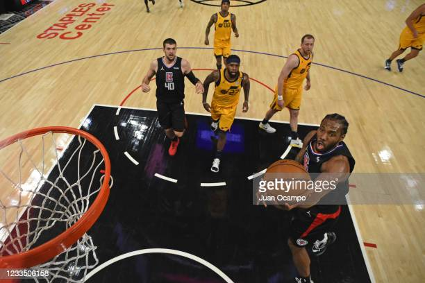Kawhi Leonard of the LA Clippers shoots the ball against the Utah Jazz during Round 2, Game 4 of the 2021 NBA Playoffs on June 14, 2021 at STAPLES...