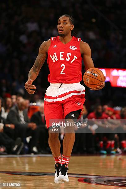 Kawhi Leonard of the San Antonio Spurs and the Western Conference handles the ball in the second half against the Eastern Conference during the NBA...