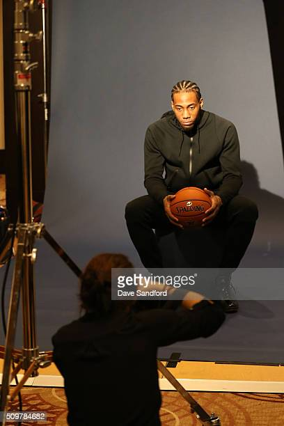 Kawhi Leonard of the San Antonio Spurs behind the scenes of NBAE Circuit as part of 2016 NBA AllStar Weekend at the Sheraton Centre Toronto Hotel on...
