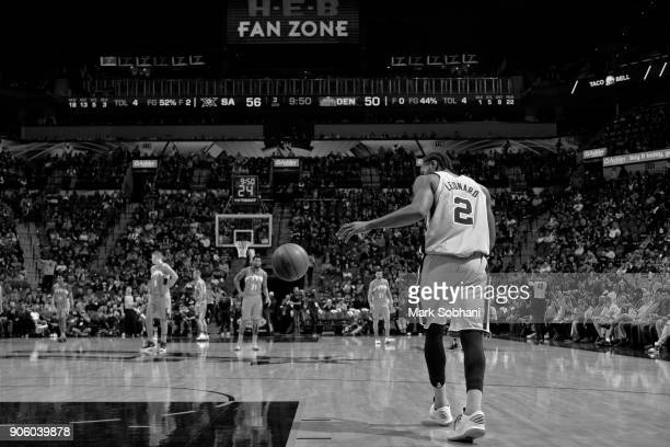 Kawhi Leonard of the San Antonio Spurs catches a pass and dribbles the ball up the court against the Denver Nuggets on January 13 2018 at the ATT...
