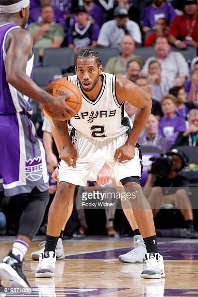 Kawhi Leonard of the San Antonio Spurs defends against the Sacramento Kings on October 27 2016 at Golden 1 Center in Sacramento California NOTE TO...