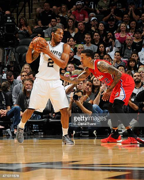 Kawhi Leonard of the San Antonio Spurs defends the ball against the Los Angeles Clippers during Game Three of the Western Conference Quarterfinals...