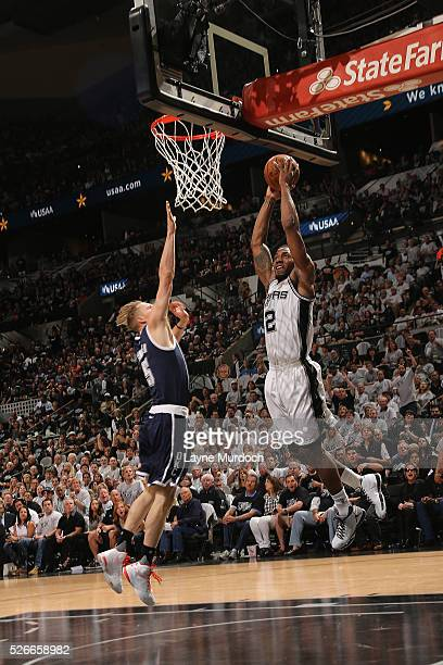 Kawhi Leonard of the San Antonio Spurs dunks the ball against the Oklahoma City Thunder in Game One of Western Conference Semifinals of the 2016 NBA...