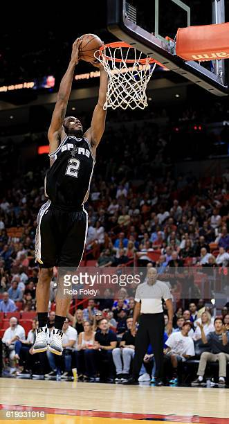 Kawhi Leonard of the San Antonio Spurs dunks the ball during the fourth quarter of the game against the Miami Heat at American Airlines Arena on...