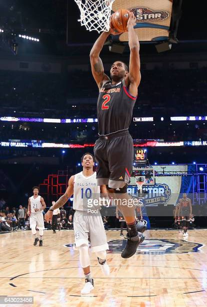 Kawhi Leonard of the San Antonio Spurs dunks the ball in the first half of the 2017 NBA AllStar Game at Smoothie King Center on February 19 2017 in...