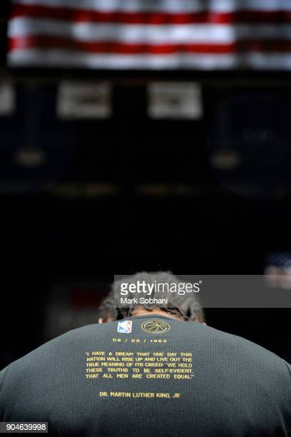 Kawhi Leonard of the San Antonio Spurs durign the national anthem before the game against the Denver Nuggets on January 13 2018 at the ATT Center in...