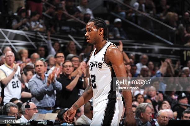 Kawhi Leonard of the San Antonio Spurs during the game against the Los Angeles Clippers during Game Three of the Western Conference Quarterfinals at...