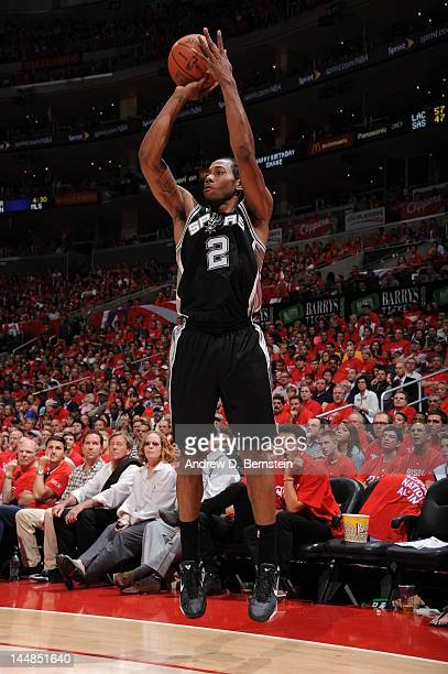 Kawhi Leonard of the San Antonio Spurs goes for a jump shot during the game between the San Antonio Spurs and the Los Angeles Clippers in Game Three...