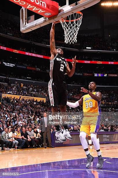 Kawhi Leonard of the San Antonio Spurs goes up for a dunk against the Los Angeles Lakers on November 18 2016 at STAPLES Center in Los Angeles...
