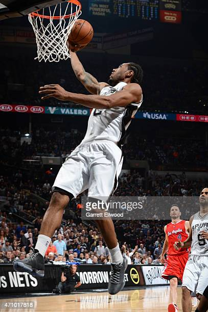 Kawhi Leonard of the San Antonio Spurs goes up for a shot against the Los Angeles Clippers during Game Three of the Western Conference Quarterfinals...