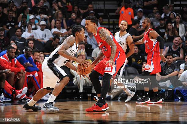 Kawhi Leonard of the San Antonio Spurs handles the ball against the Los Angeles Clippers during Game Three of the Western Conference Quarterfinals at...