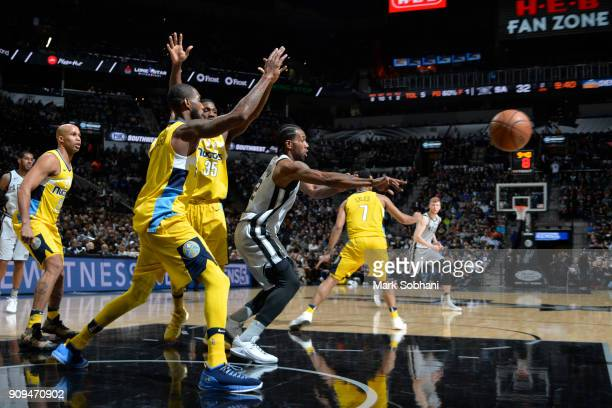 Kawhi Leonard of the San Antonio Spurs handles the ball during the game against the Denver Nuggets on January 13 2018 at the ATT Center in San...