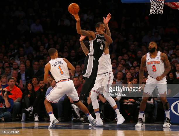 Kawhi Leonard of the San Antonio Spurs in action against the New York Knicks at Madison Square Garden on January 2 2018 in New York City The Spurs...