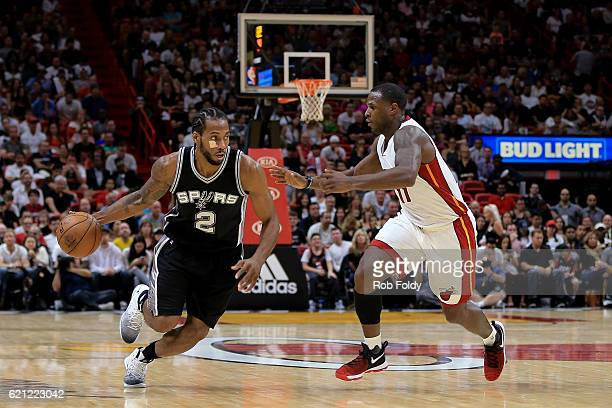 Kawhi Leonard of the San Antonio Spurs in action during the game against the Miami Heat at American Airlines Arena on October 30 2016 in Miami Florida