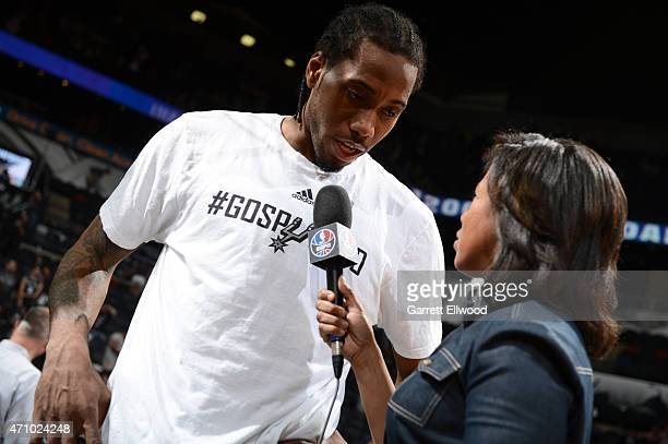 Kawhi Leonard of the San Antonio Spurs is interviewed after the win against the Los Angeles Clippers during Game Three of the Western Conference...