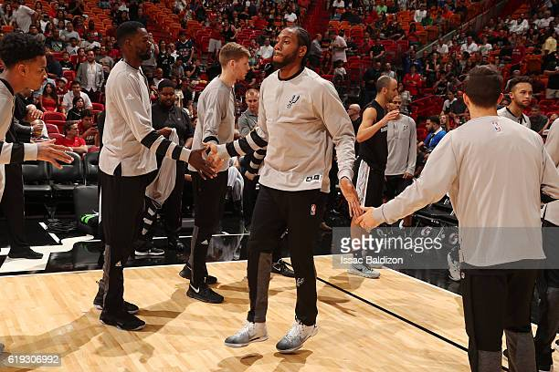 Kawhi Leonard of the San Antonio Spurs is introduced before a game against the Miami Heat on October 30 2016 at American Airlines Arena in Miami...