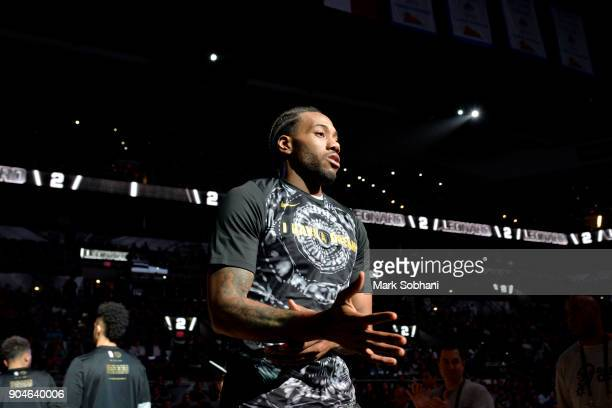 Kawhi Leonard of the San Antonio Spurs is introduced before the game against the Denver Nuggets on January 13 2018 at the ATT Center in San Antonio...