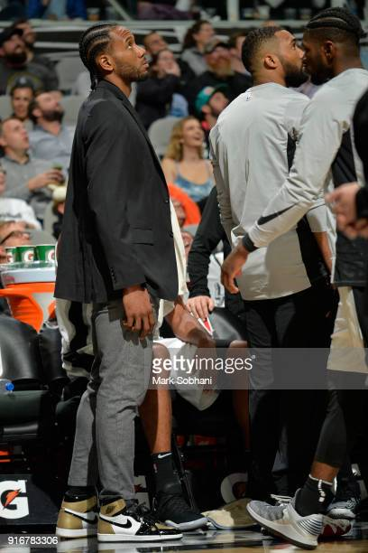 Kawhi Leonard of the San Antonio Spurs looks on during the game against the Denver Nuggets on January 30 2018 at the ATT Center in San Antonio Texas...