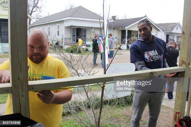 Kawhi Leonard of the San Antonio Spurs participates during the NBA Cares Day of Service as part of 2017 AllStar Weekend at the KaBOOM Rebuilding...