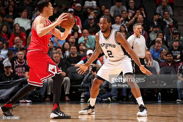Kawhi Leonard of the San Antonio Spurs play defense against the Chicago Bulls on March 10 2016 at the ATT Center in San Antonio Texas NOTE TO USER...