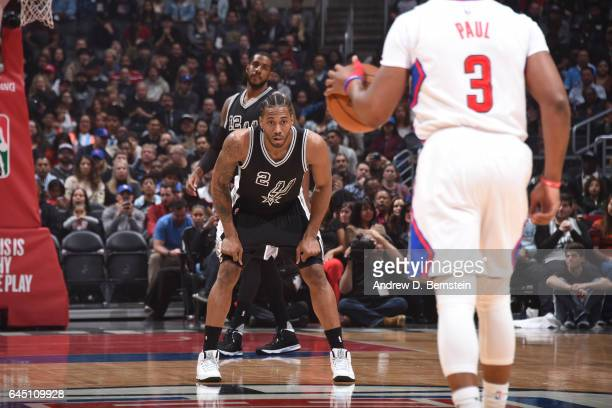 Kawhi Leonard of the San Antonio Spurs plays defense against the LA Clippers on February 24 2017 at STAPLES Center in Los Angeles California NOTE TO...