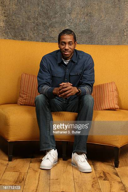 Kawhi Leonard of the San Antonio Spurs poses for portraits during the NBAE Circuit as part of 2013 AllStar Weekend at the Hilton Americas Hotel on...