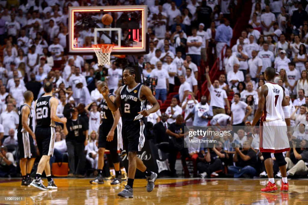 Kawhi Leonard #2 of the San Antonio Spurs reacts after the Spurs defeat the Miami Heat 92-88 in Game One of the 2013 NBA Finals at AmericanAirlines Arena on June 6, 2013 in Miami, Florida.