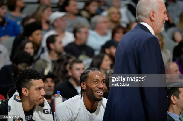 Kawhi Leonard of the San Antonio Spurs reacts during the game against the Denver Nuggets on January 13 2018 at the ATT Center in San Antonio Texas...
