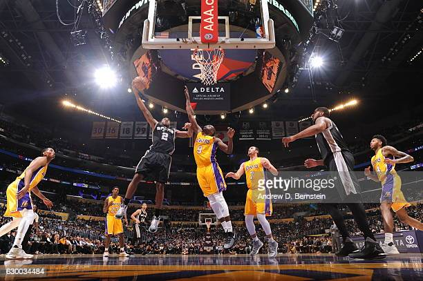 Kawhi Leonard of the San Antonio Spurs shoots a lay up against the Los Angeles Lakers on November 18 2016 at STAPLES Center in Los Angeles California...
