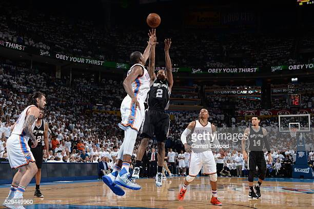 Kawhi Leonard of the San Antonio Spurs shoots against the Oklahoma City Thunder in Game Four of the Western Conference Semifinals during the 2016 NBA...