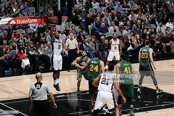 Kawhi Leonard of the San Antonio Spurs shoots the ball against the Utah Jazz on January 6 2016 at the ATT Center in San Antonio Texas NOTE TO USER...