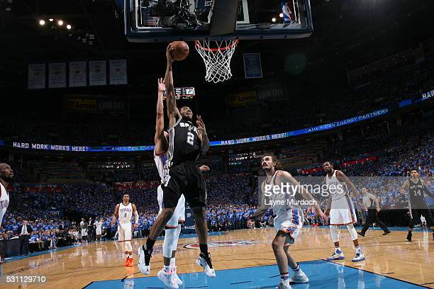 Kawhi Leonard of the San Antonio Spurs shoots the ball against the Oklahoma City Thunder in Game Six of Western Conference Quarterfinals of the 2016...