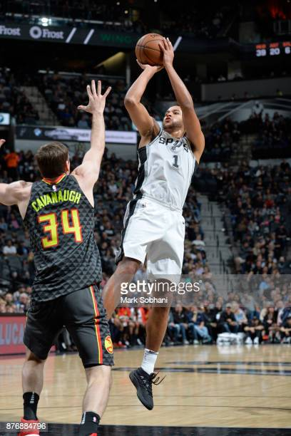 Kawhi Leonard of the San Antonio Spurs shoots the ball against the Atlanta Hawks on November 20 2017 at the ATT Center in San Antonio Texas NOTE TO...