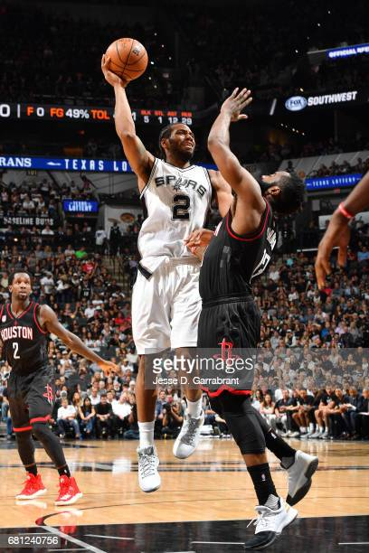 Kawhi Leonard of the San Antonio Spurs shoots the ball during the game against the Houston Rockets during Game Five of the Western Conference...