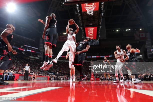 Kawhi Leonard of the San Antonio Spurs shoots the ball during the game against the Houston Rockets on December 15 2017 at Toyota Center in Houston...