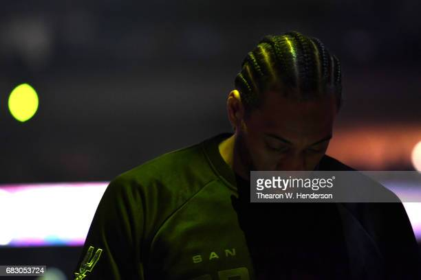 Kawhi Leonard of the San Antonio Spurs stands during player introductions prior to Game One of the NBA Western Conference Finals against the Golden...