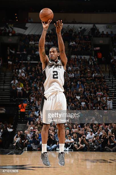 Kawhi Leonard of the San Antonio Spurs takes a shot against the Los Angeles Clippers during Game Three of the Western Conference Quarterfinals at the...