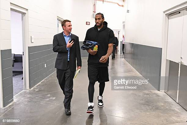 Kawhi Leonard of the San Antonio Spurs talks to the media before the game against the Sacramento Kings on October 27 2016 at the Golden 1 Center in...