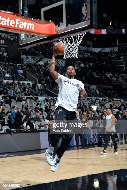 Kawhi Leonard of the San Antonio Spurs warms up before the game against the Denver Nuggets on January 13 2018 at the ATT Center in San Antonio Texas...