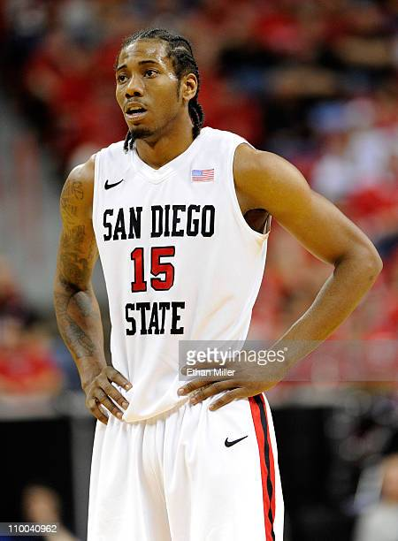 Kawhi Leonard of the San Diego State Aztecs appears on the court during a quarterfinal game of the Conoco Mountain West Conference Basketball...
