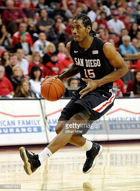 Kawhi Leonard of the San Diego State Aztecs brings the ball up the court against the UNLV Rebels during their game at the Thomas Mack Center February...