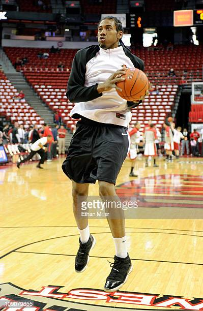 Kawhi Leonard of the San Diego State Aztecs practices during warmups before a game against the UNLV Rebels at the Thomas Mack Center February 12 2011...