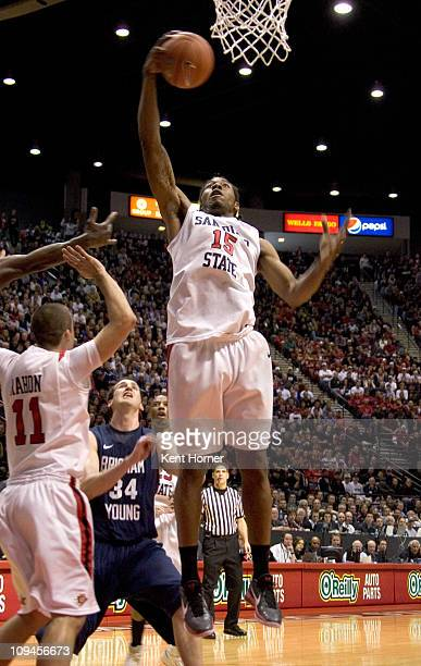 Kawhi Leonard of the San Diego State Aztecs rebounds the ball against the Brigham Young Cougars during the first half at Cox Arena on February 26...