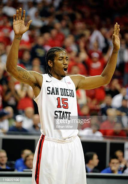 Kawhi Leonard of the San Diego State Aztecs waits for a UNLV Rebels player to shoot a free throw during a semifinal game of the Conoco Mountain West...